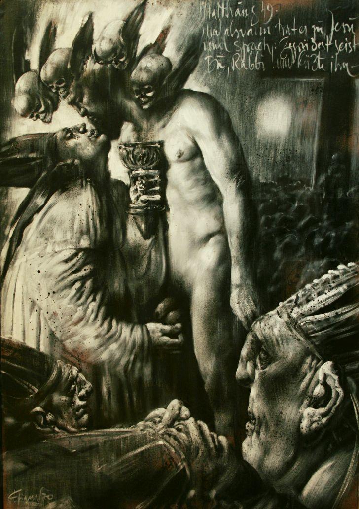 Fritz Aigner, Matthäus 8 49, 1970, Asphaltlack, 69,7 x 98,5 cm