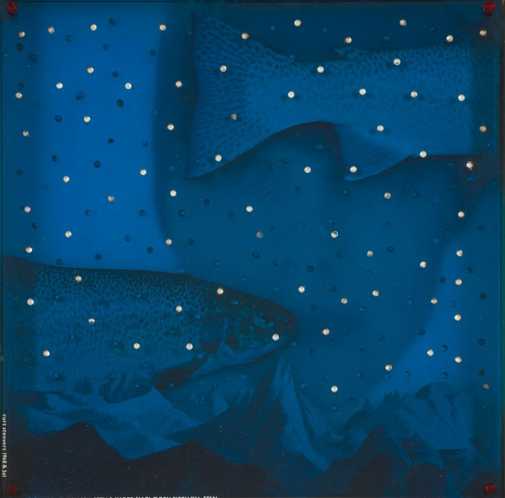 Curt Stenvert, Having to reproduce and kiss the Fish at Night, 1968, Installation, 14,8 x 14,8 inches