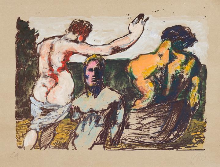 Markus Lüpertz, Arkadien, Abend am See, 2014, Mischtechnik auf Papier (Übermalte Lithografie – Unikat), 81,5 x 61 cm
