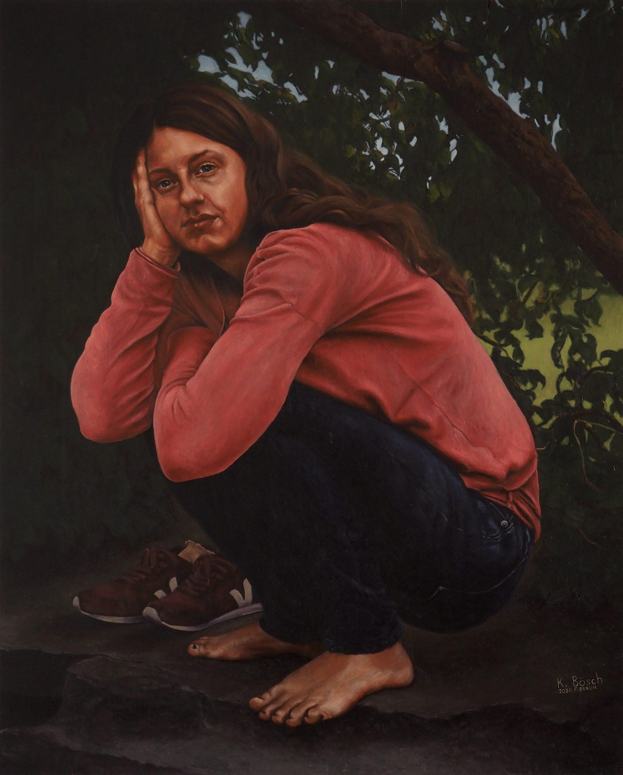 Franz Braun, Portrait Katharina Boesch, 2020, oil on wood, 57 x 46 cm