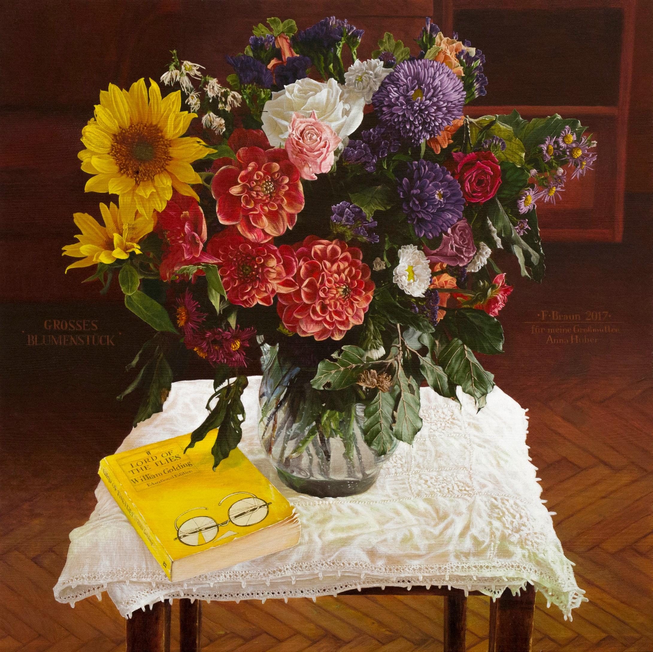 Franz Braun, A Bunch of Flowers, 2017, oil on wood, 55 x 55cm