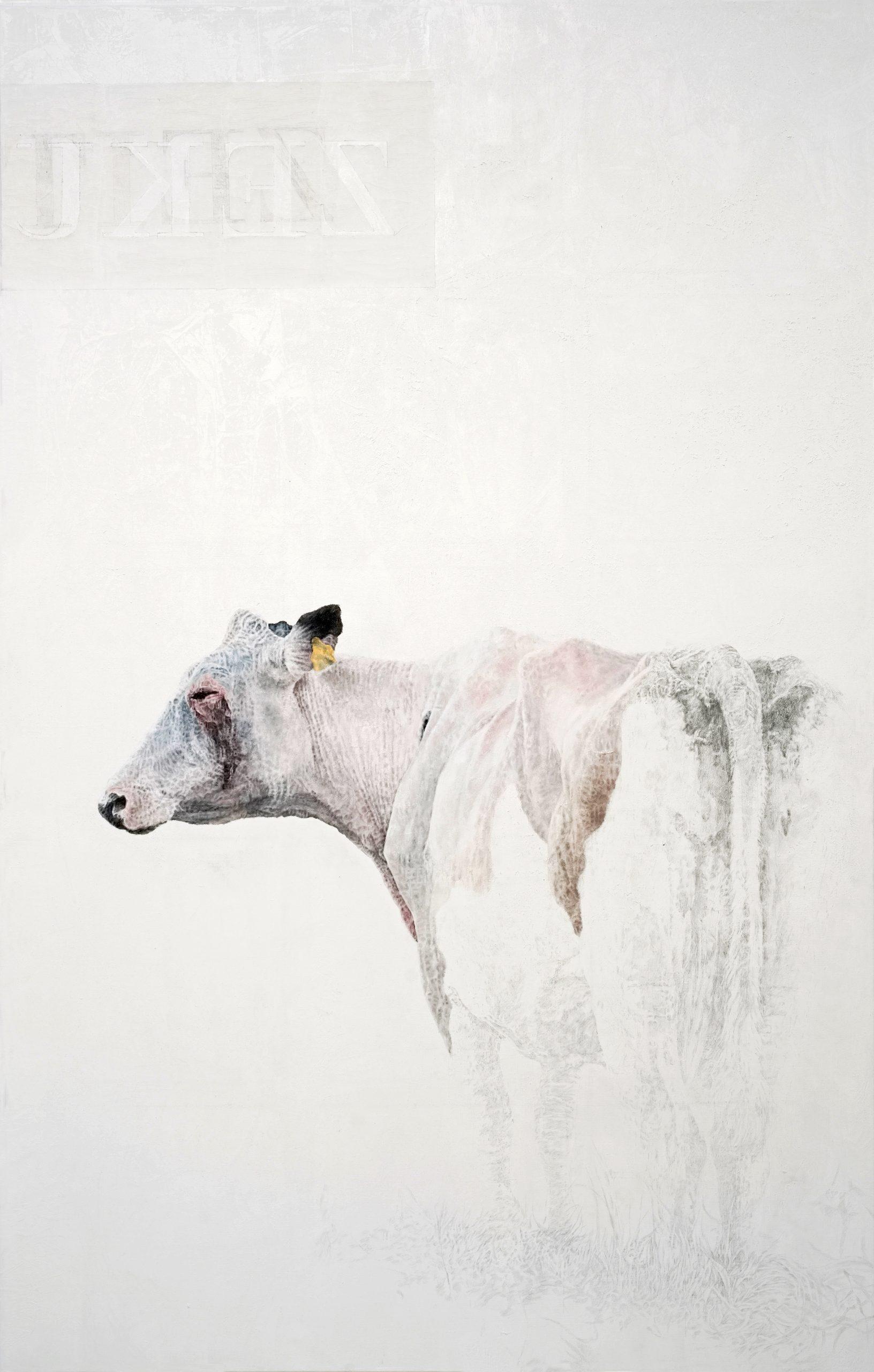 Die Kuh (ZEKU), 2020, Öl, Bleisti, 220 x 140 cm