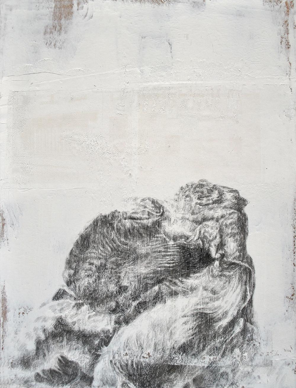 Ramona Schnekenburger, Unnamed 4 (Wal), 2020, Öl und Bleistift auf Holzplatte, 30 x 24 .